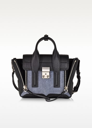 Pashli Mini Satchel Borsa in Pelle Nero/Denim - 3.1 Phillip Lim