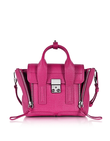Pashli Magenta Leather Mini Satchel
