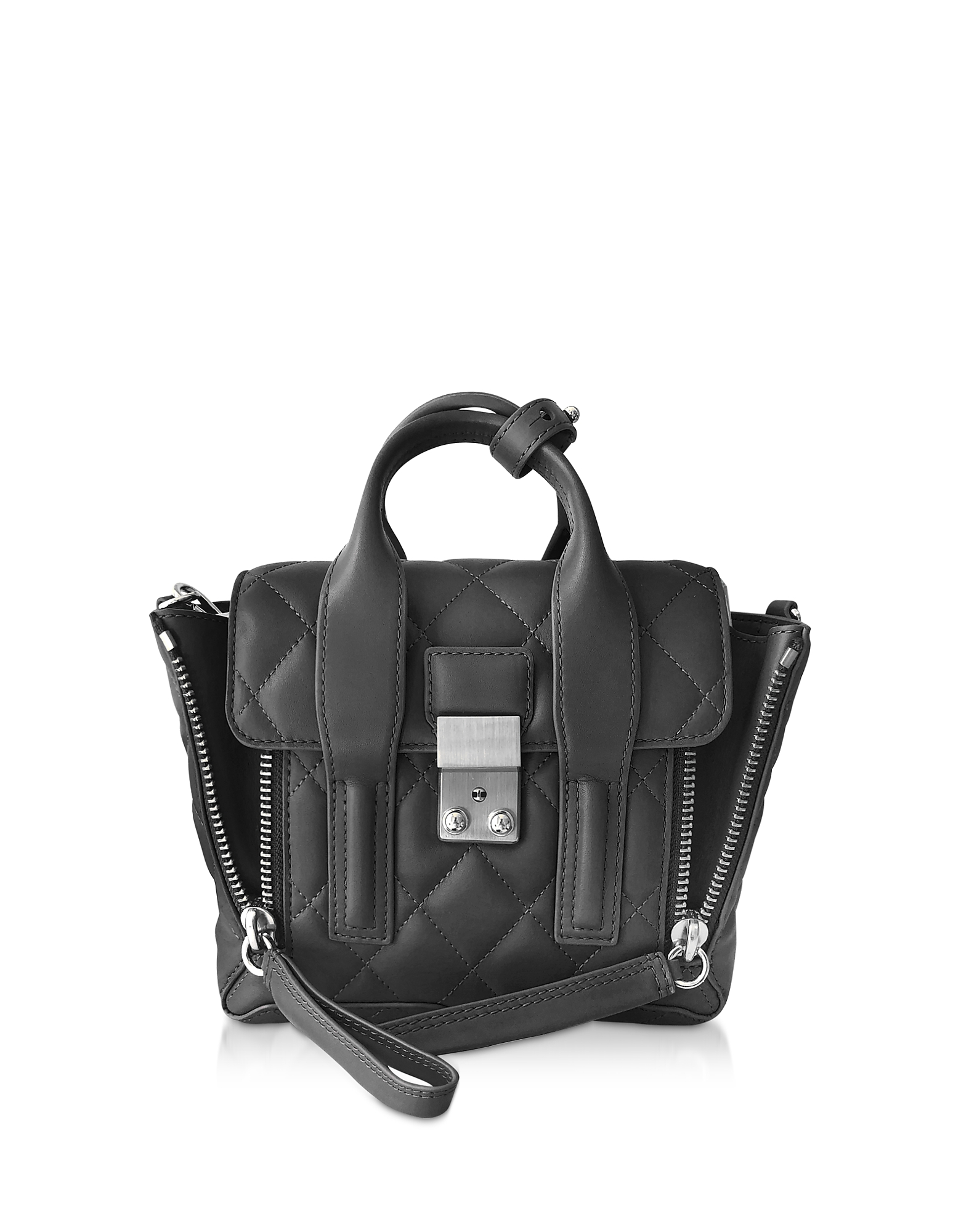 Pashli Quilted Mini Satchel Bag, Black
