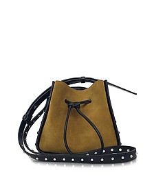 Soleil Dark Mustard Suede and Black Leather Mini Bucket Bag w/Studs - 3.1 Phillip Lim