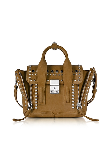 3.1 Phillip Lim - Pashli Dark Mustard Suede Mini Satchel Bag w/Studs