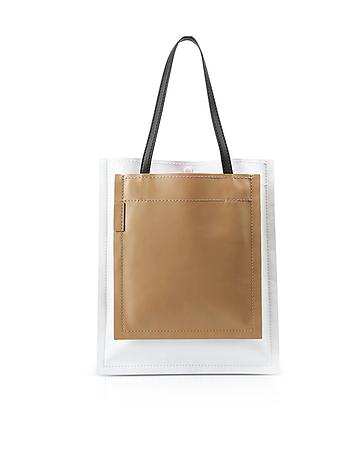 Slim Accordion Natural Leather Tote Bag