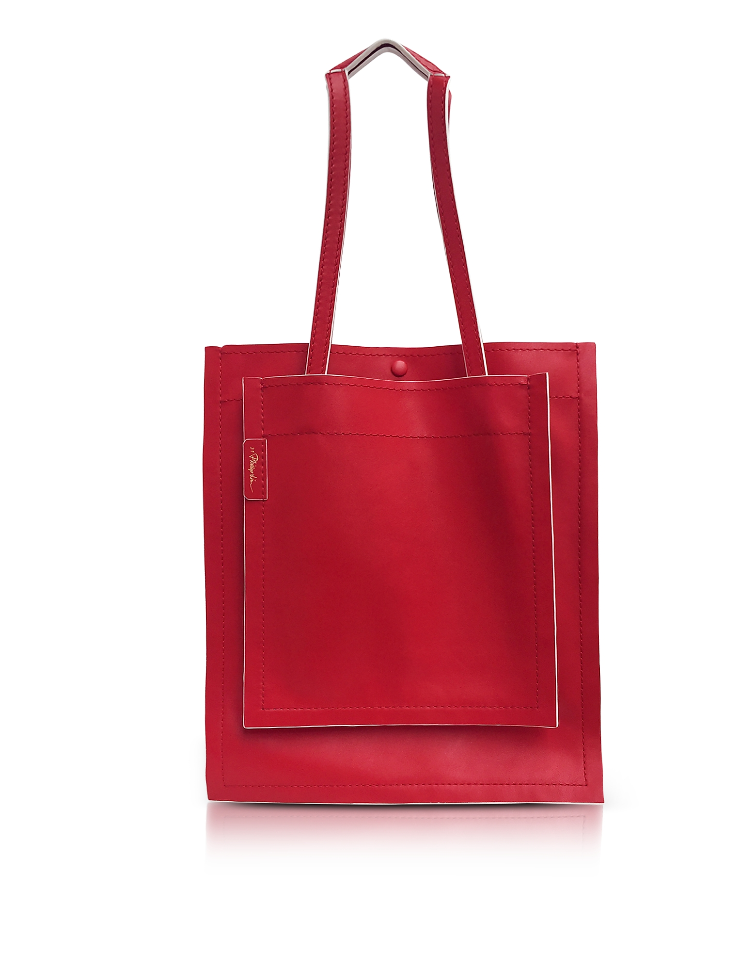 3.1 Phillip Lim Handbags, Slim Accordion Scarlet Leather Tote Bag