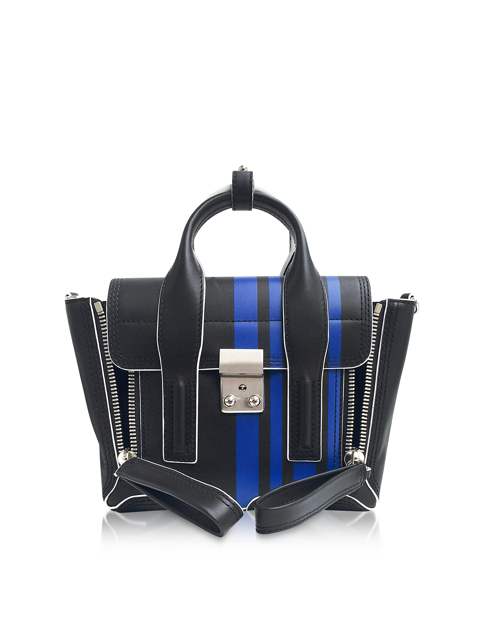 3.1 Phillip Lim Handbags, Navy Blue Leather Pashli Mini Satchel Bag w/Bluette Stripes