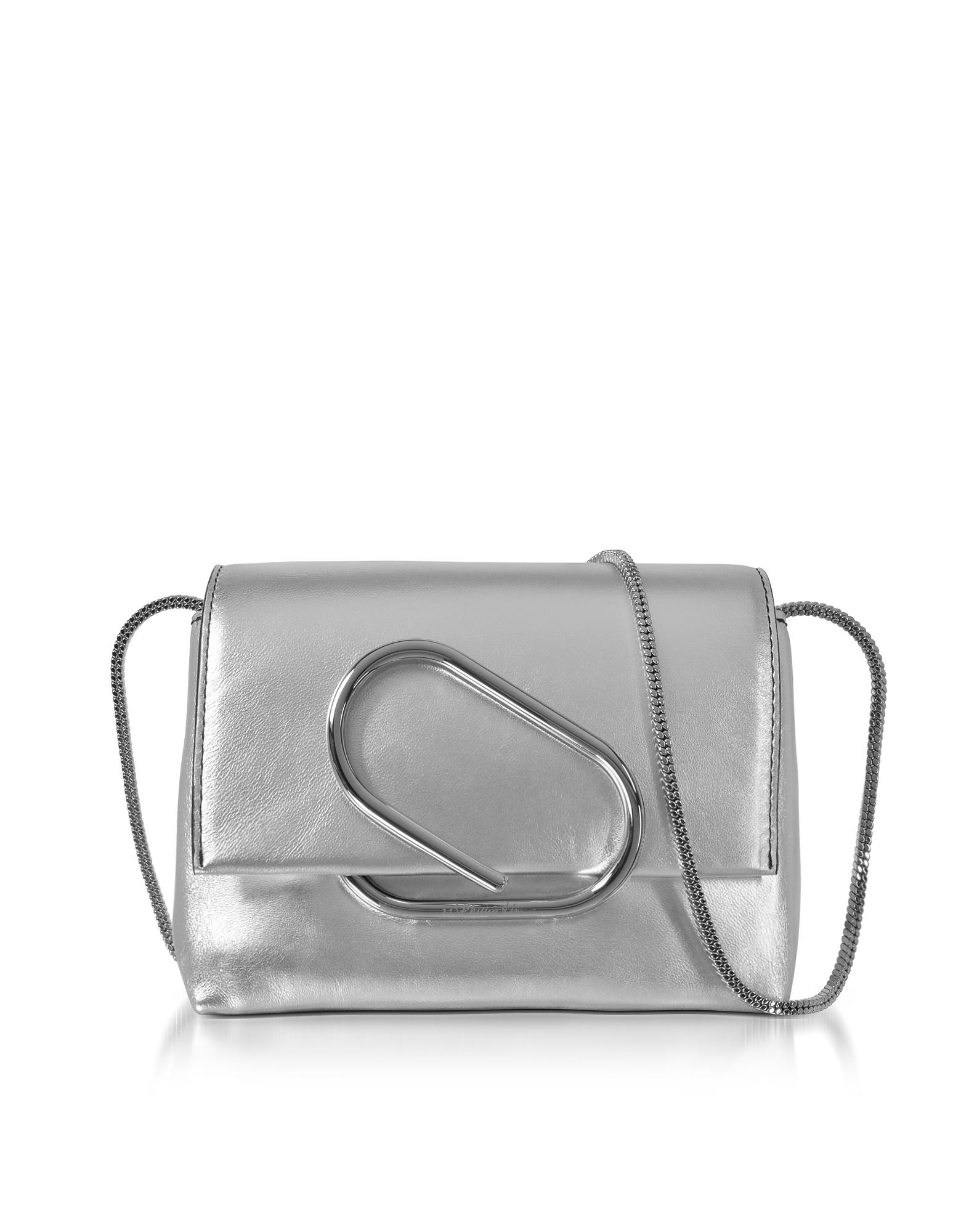Alix Micro Clutch in Pelle Laminata Silver
