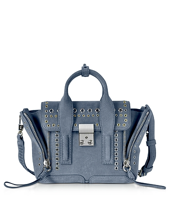 Pashli Ash Blue Leather Mini Satchel Bag