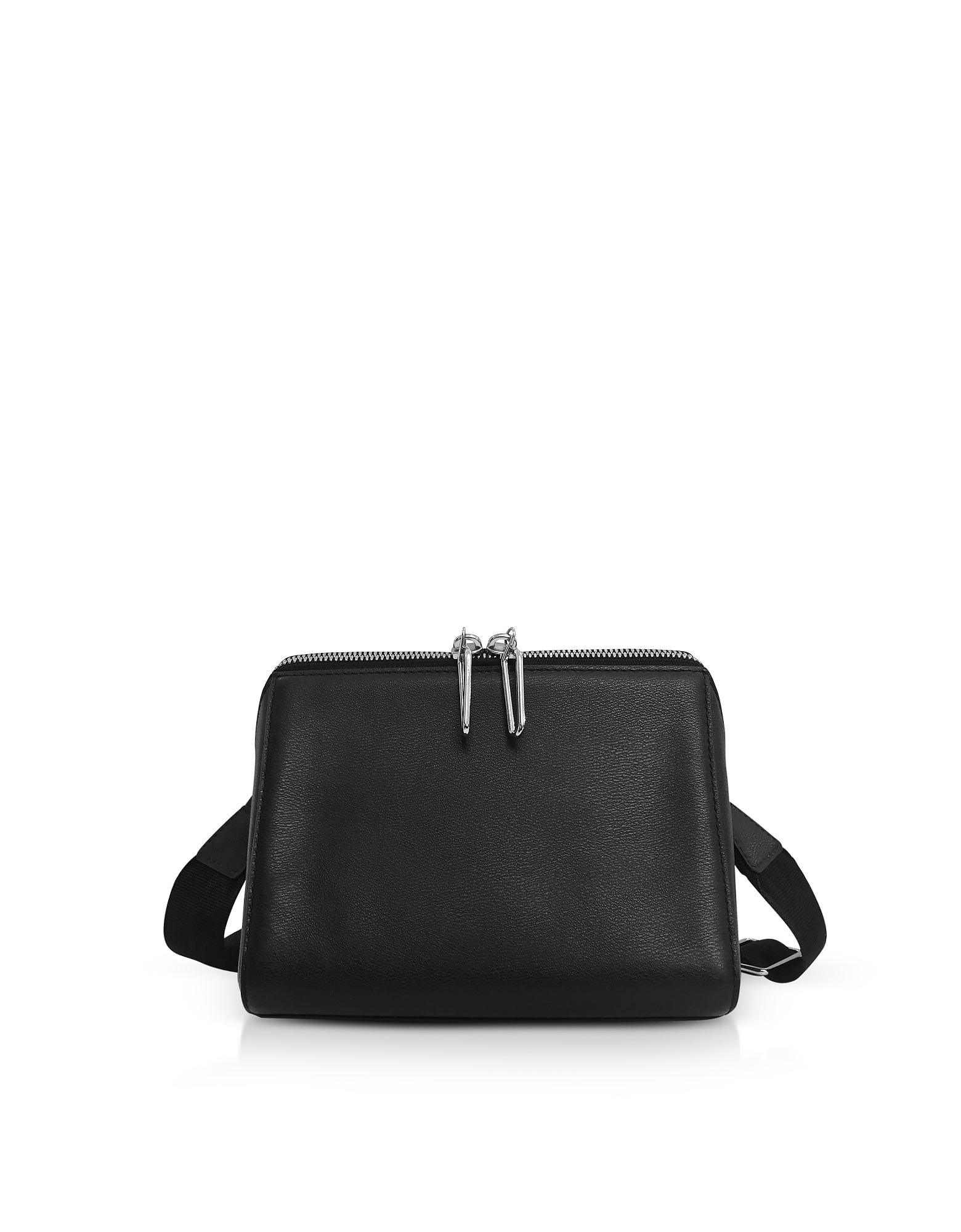 Black Leather Ray Triangle Crossbody Bag