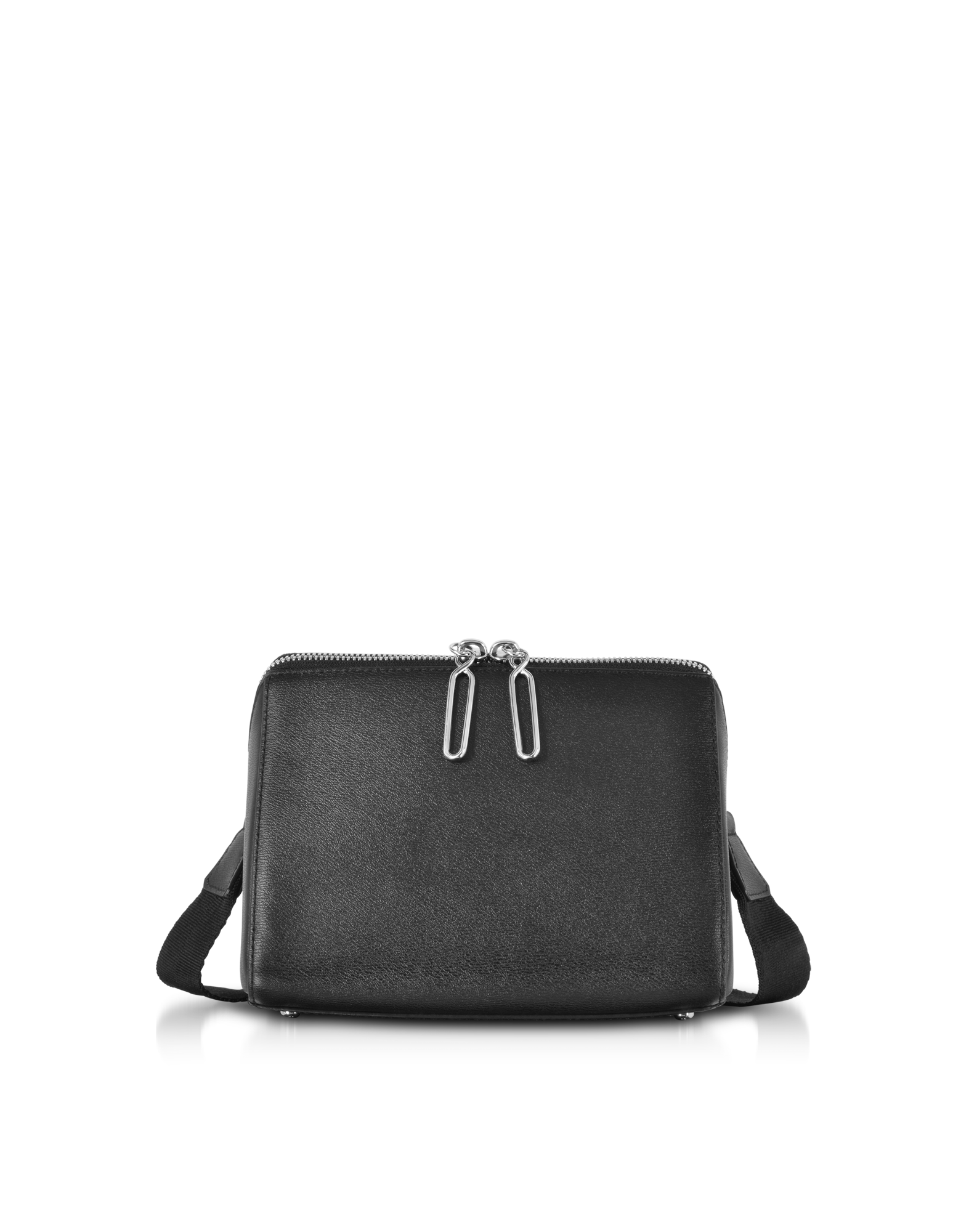 Image of Black Leather Ray Triangle Crossbody Bag