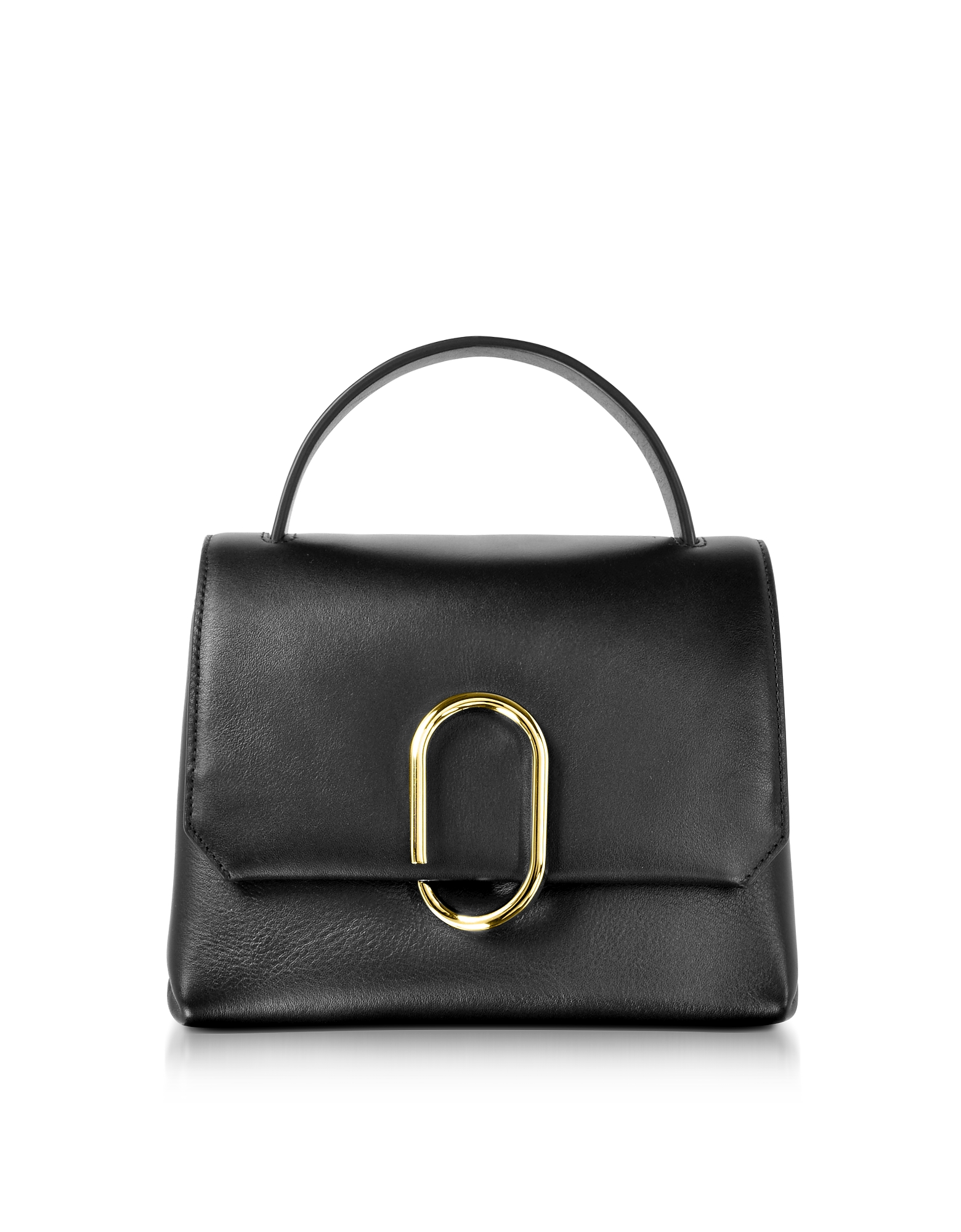 Image of 3.1 Phillip Lim Designer Handbags, Alix Black Leather Mini Top Handle Satchel Bag