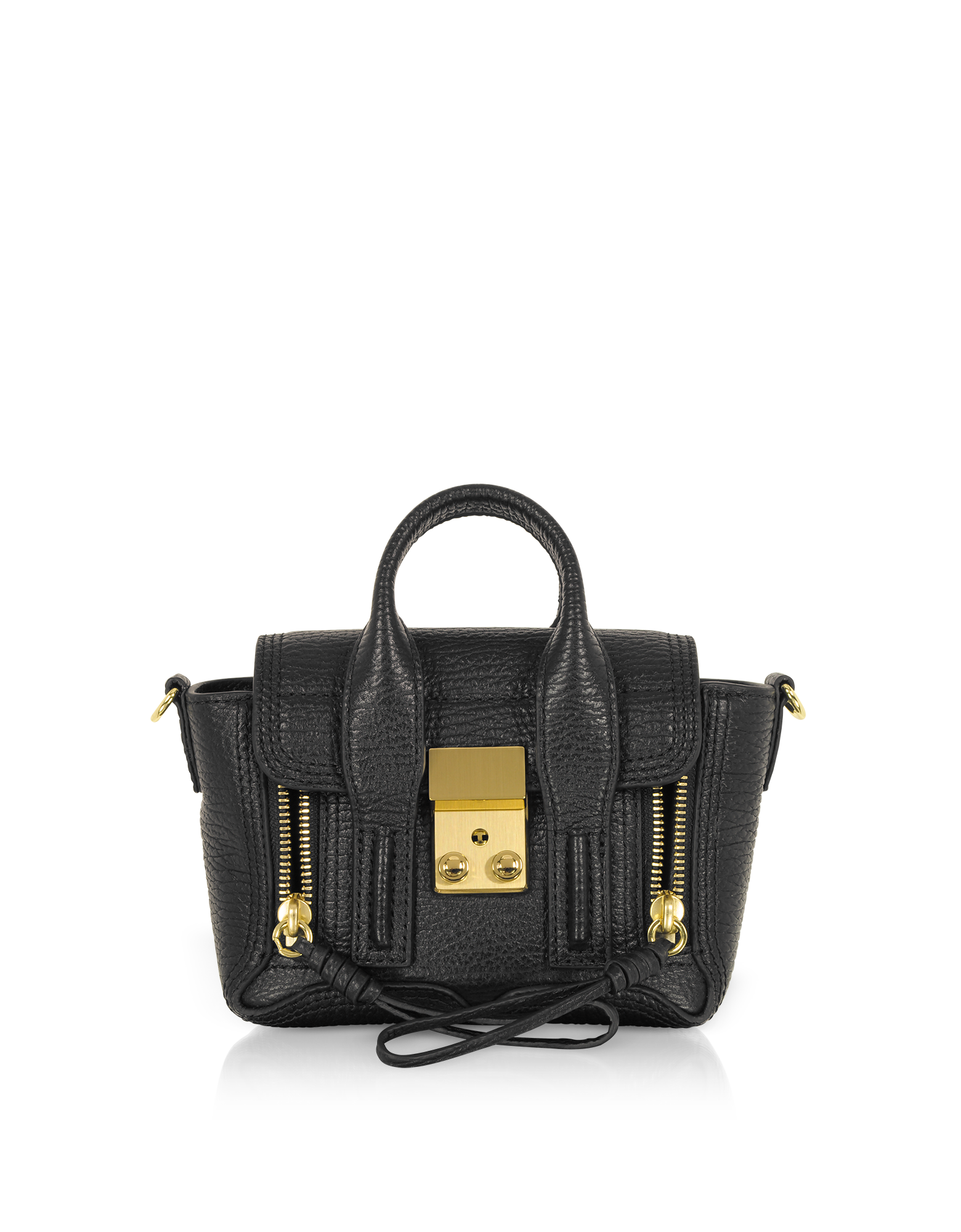 Image of Black Leather Pashli Nano Satchel Bag