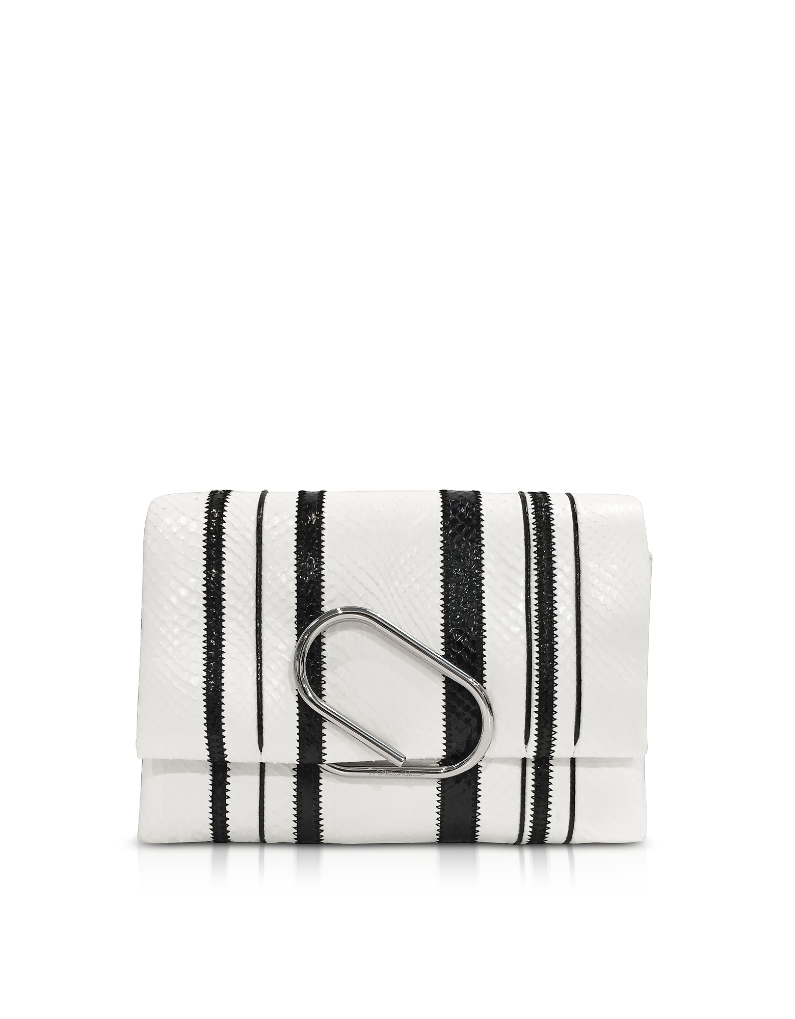 3.1 Phillip Lim Handbags, Black & White Alix Soft Flap Clutch