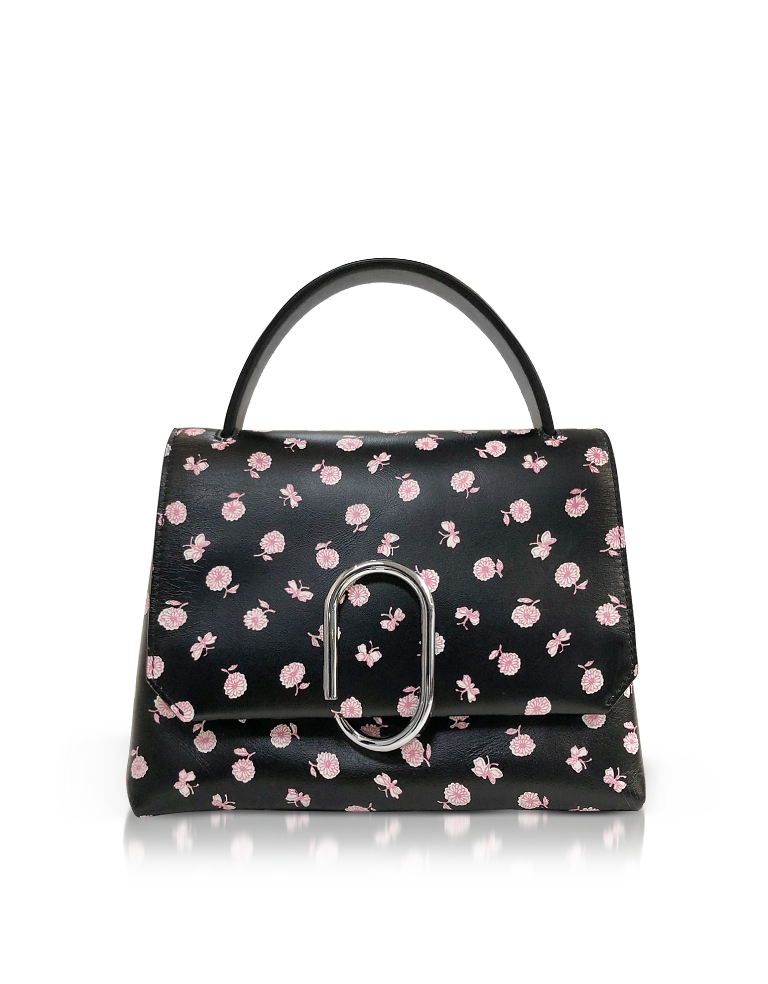 Image of 3.1 Phillip Lim Designer Handbags, Alix Black Printed Leather Mini Top Handle Satchel Bag