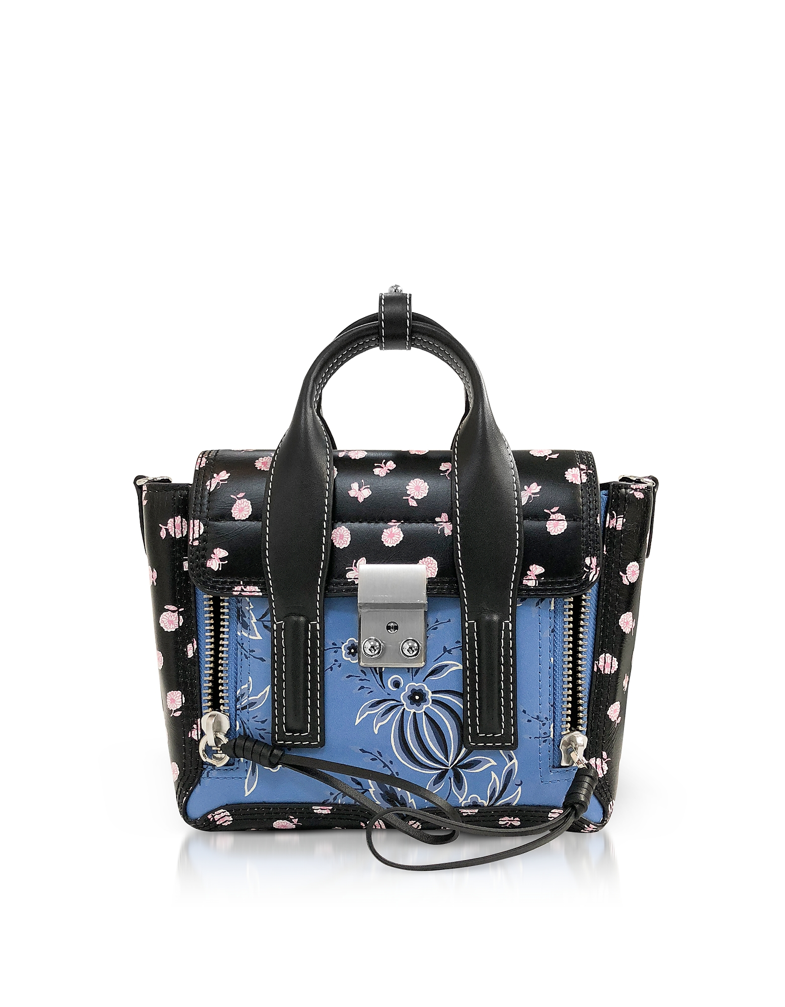 Image of 3.1 Phillip Lim Designer Handbags, Black Multi Printed Leather Pashli Mini Satchel