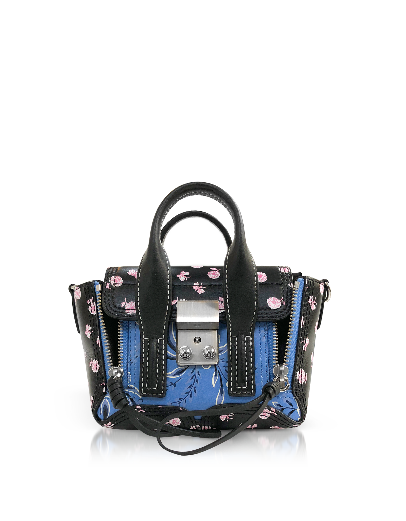 Image of Black Multi Printed Leather Pashli Nano Satchel