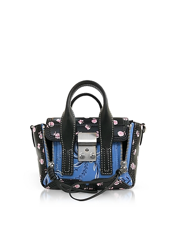 Black Multi Printed Leather Pashli Nano Satchel