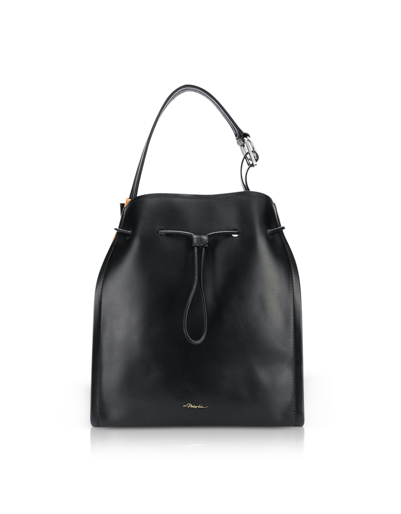 Image of 3.1 Phillip Lim Designer Handbags, Black Leather and Cinnamon Suede Hudson Market