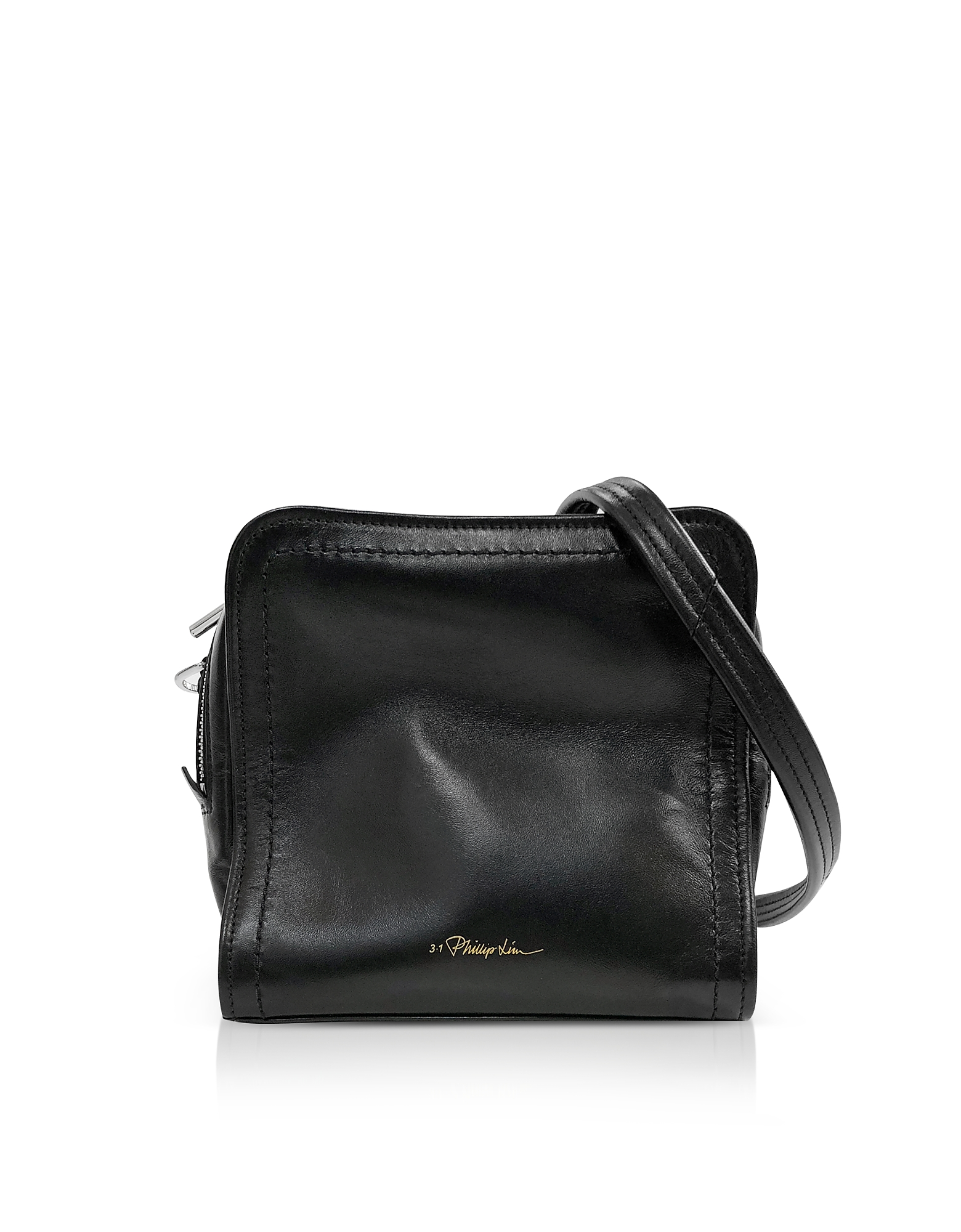 Image of 3.1 Phillip Lim Designer Handbags, Black Leather Hudson Mini Square Crossbody Bag