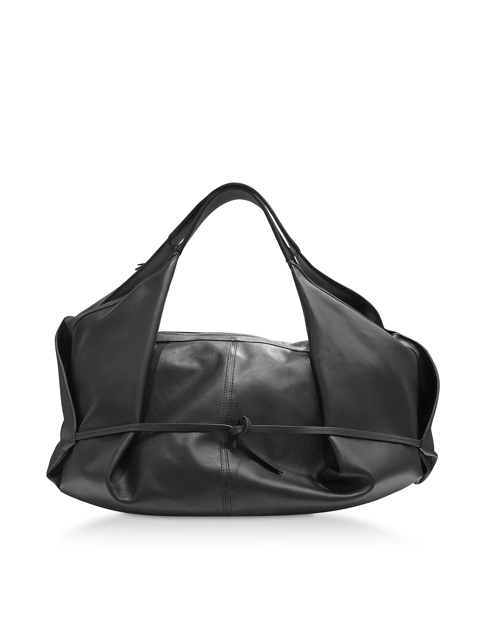 Black Leather Luna Medium Slouchy Hobo Bag