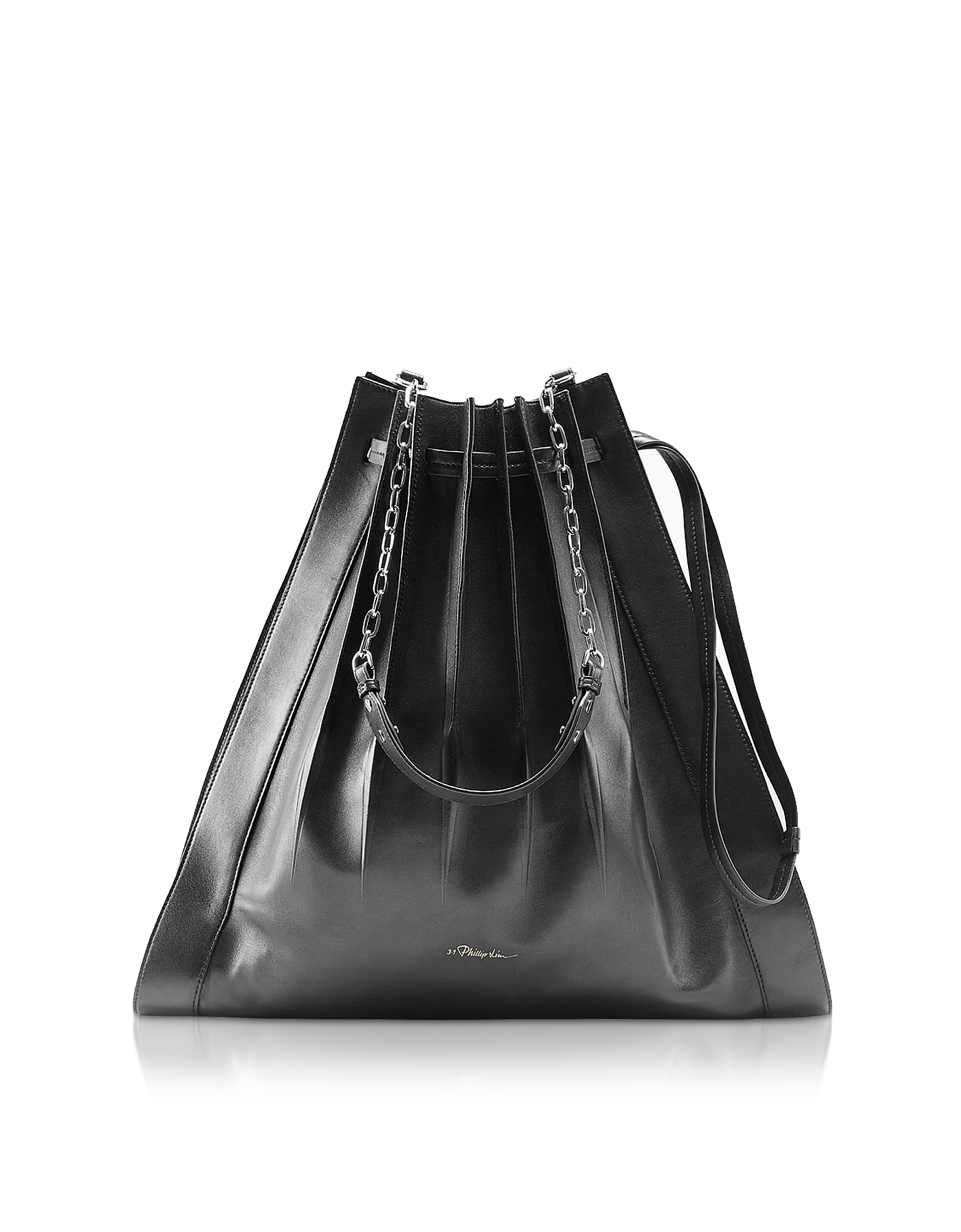 Florence Large Pleated Drawstring Tote Bag, Black