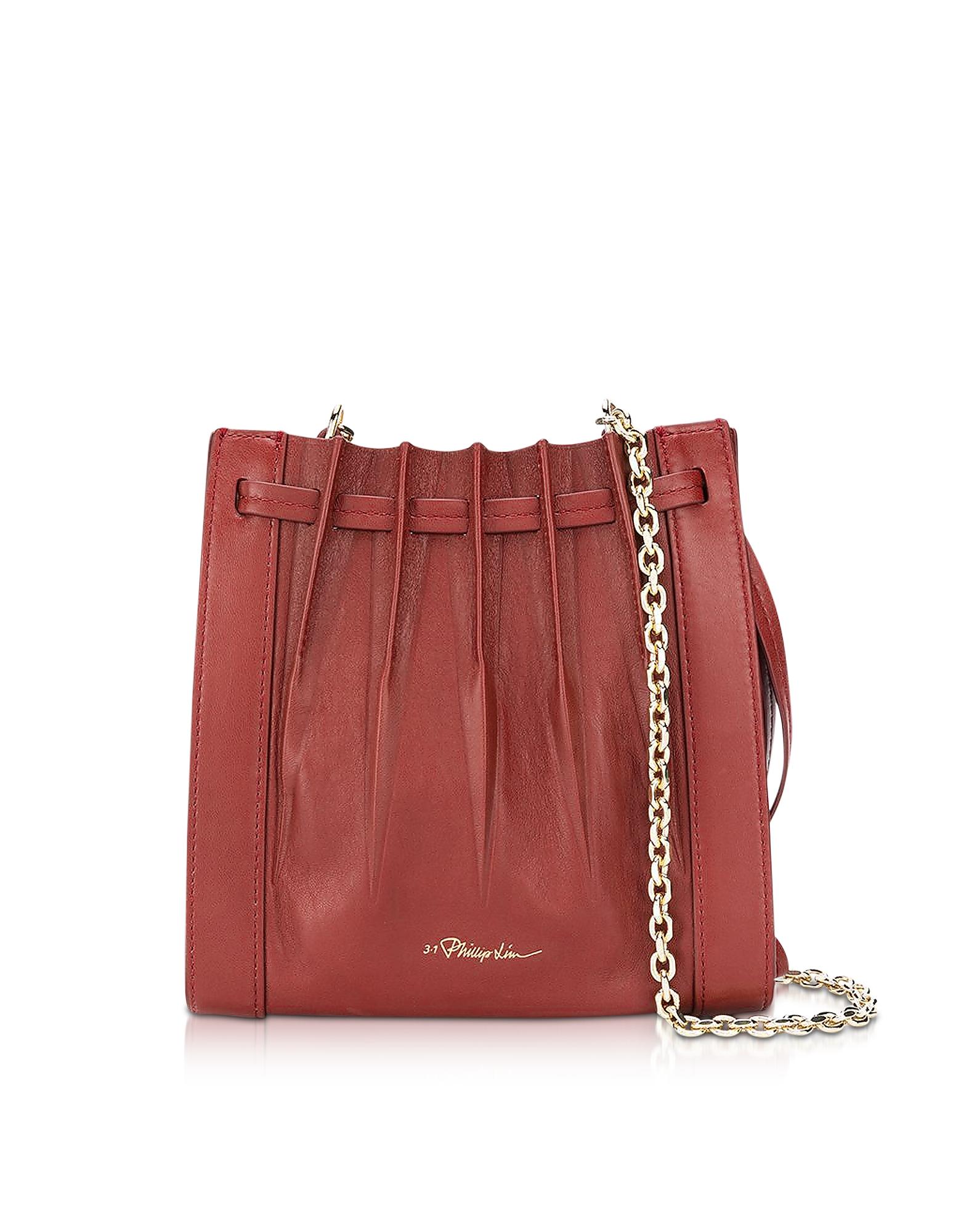 Florence Mini Pleated Drawstring Tote Bag, Brick