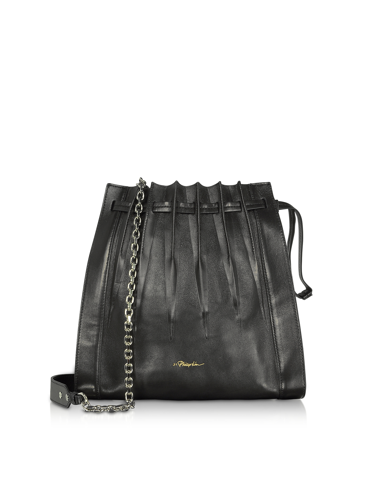 Black Florence Pleated Drawstring Tote Bag