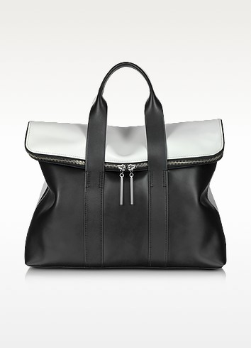 31 Hour Black & White Leather Tote Bag - 3.1 Phillip Lim