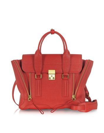 Red Leather Pashli Medium Satchel