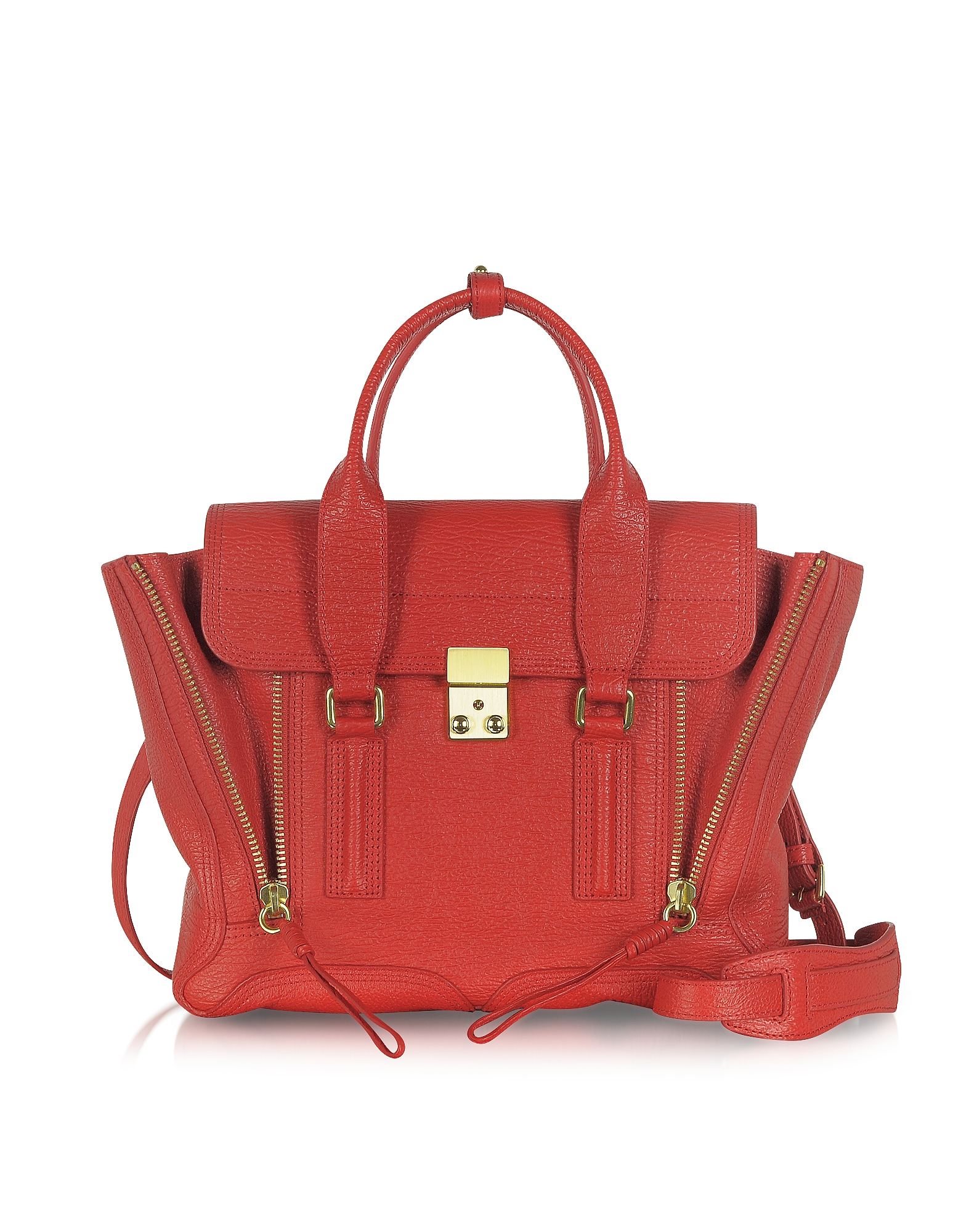 3.1 Phillip Lim Handbags, Red Leather Pashli Medium Satchel