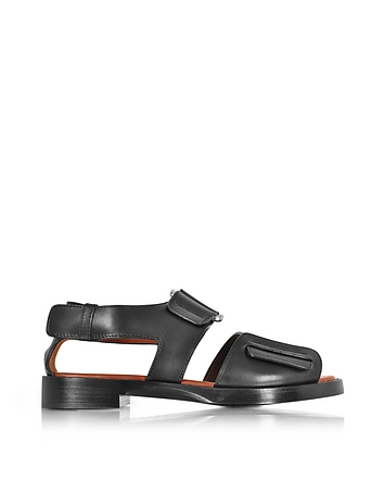 Forzieri DE 3.1 Phillip Lim Addis Black Leather Flat Sandal
