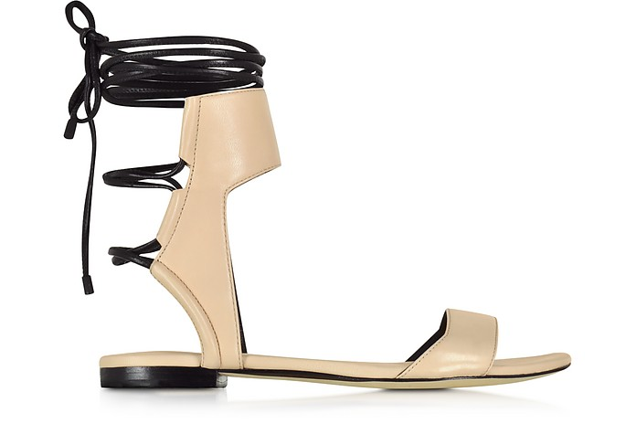 Martini Light Peach and Black Leather Ankle Lace Flat Sandal - 3.1 Phillip Lim