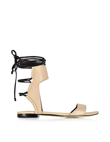 Shoes-Martini Light Peach and Black Leather Ankle Lace Flat Sandal