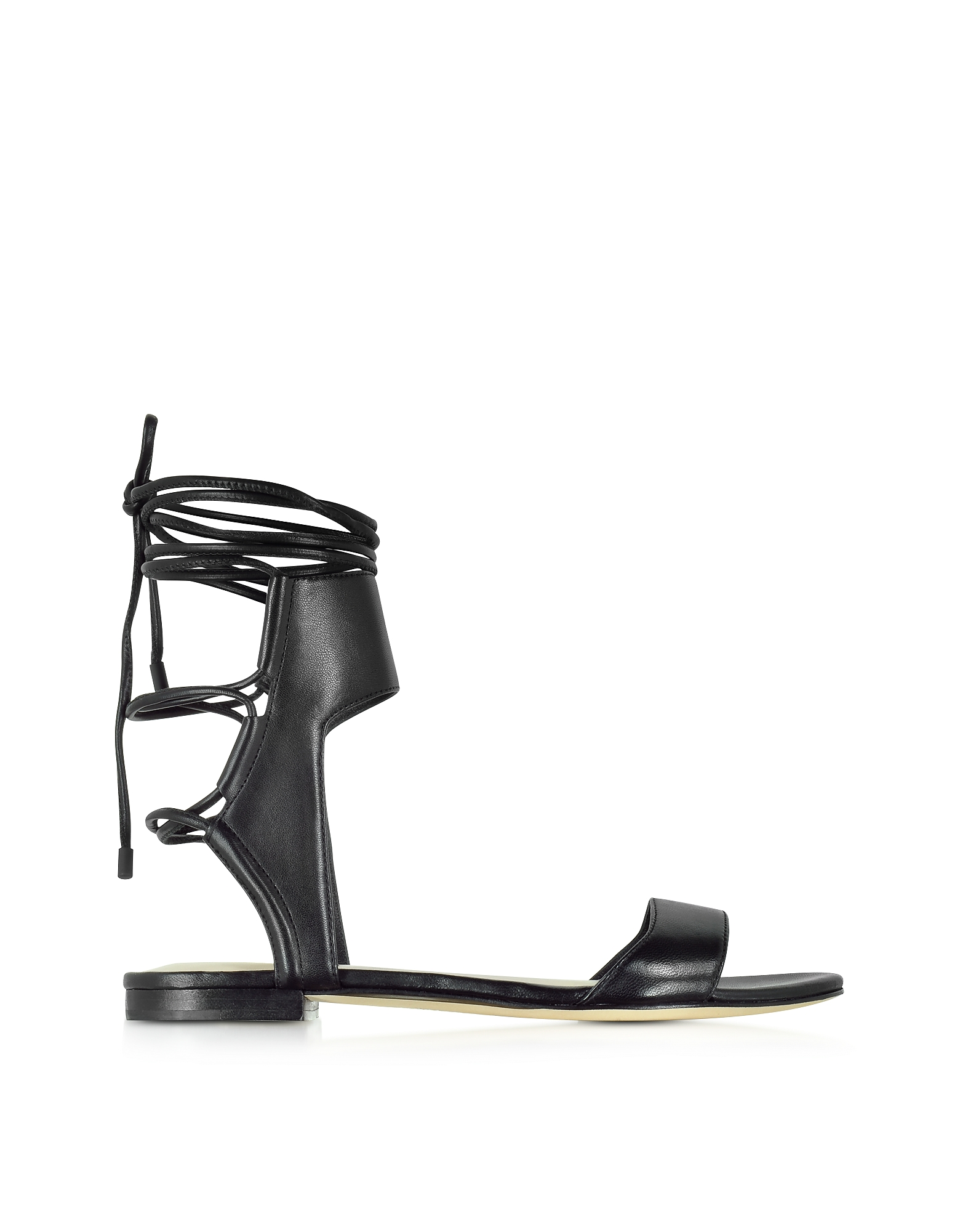 Martini Black Leather Ankle Lace Flat Sandal