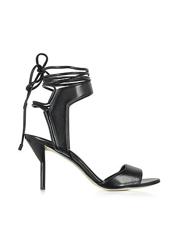 Martini Black Leather Ankle Lace Mid Heel Sandal