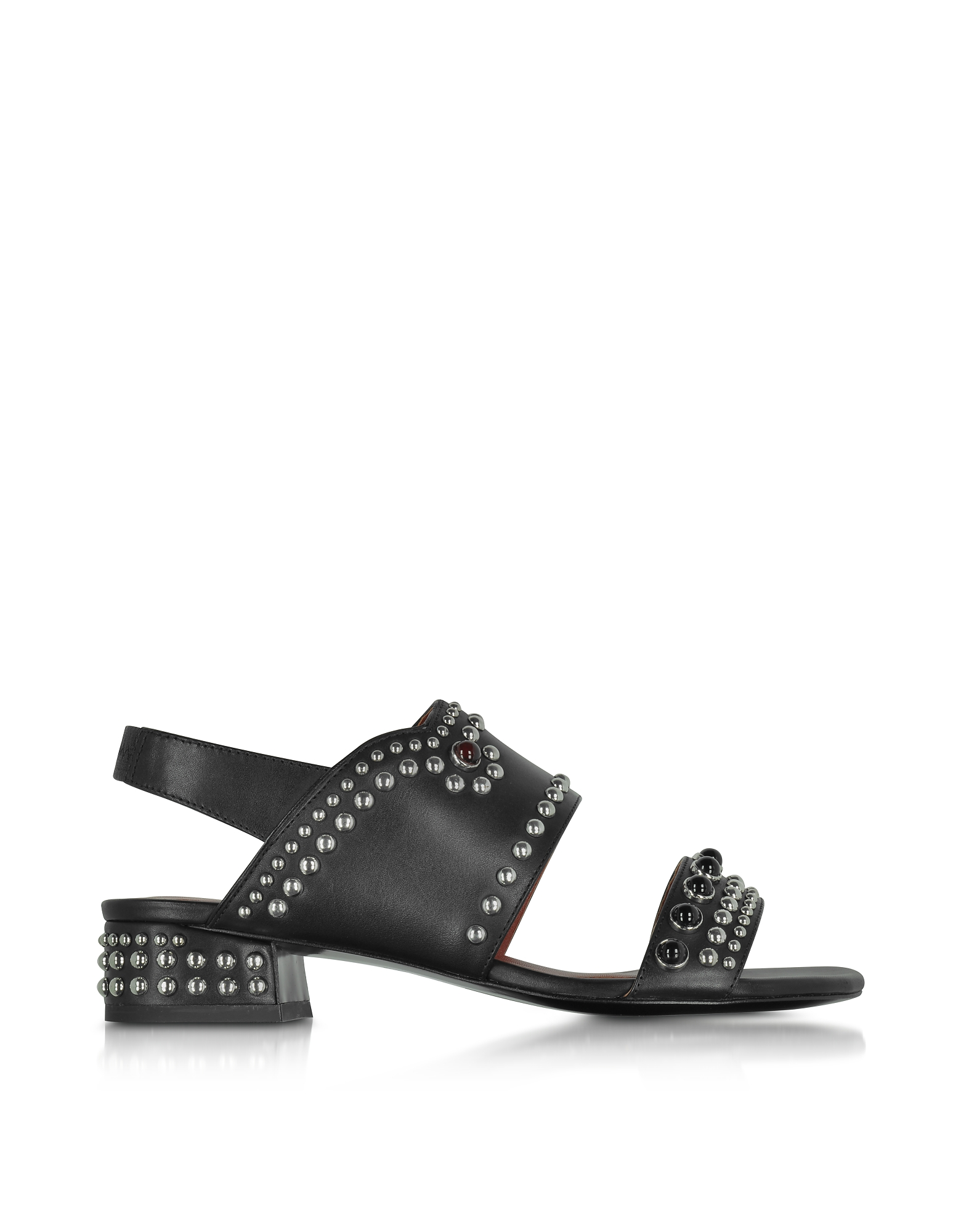 3.1 Phillip Lim Shoes, Black Leather Studded Mid-Heel Sandals