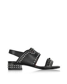 Black Leather Studded Mid-Heel Sandals - 3.1 Phillip Lim