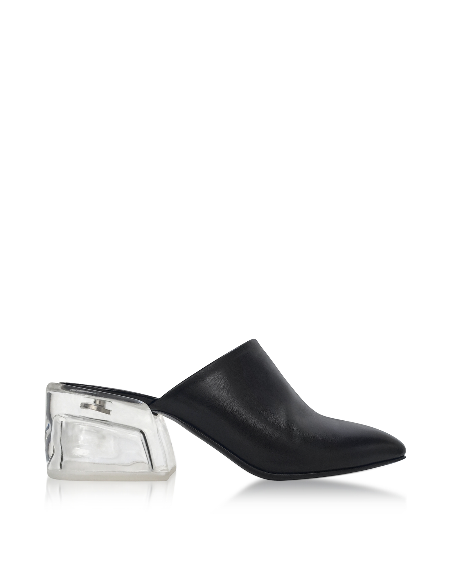 3.1 Phillip Lim Shoes, Closed Toe Black Leather Mule w/Plexi Heel
