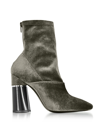 3.1 Phillip Lim - Kyoto Olive Velvet Stretch High Heel Ankle Boots