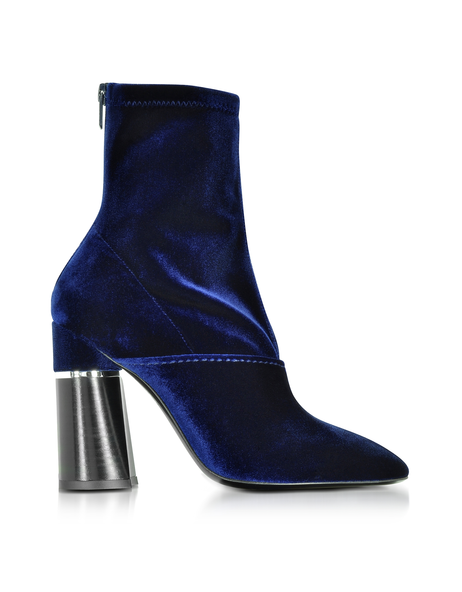 3.1 Phillip Lim Shoes, Kyoto Royal Blue Velvet Stretch High Heel Ankle Boots