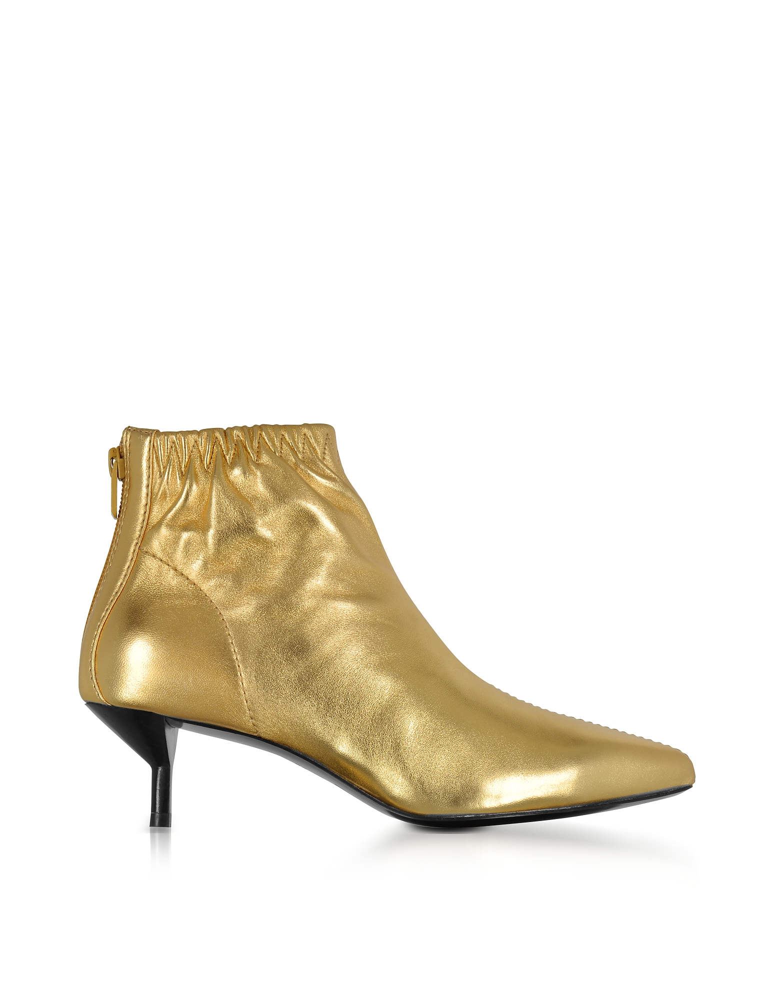 3.1 Phillip Lim Shoes, Blitz Gold Metallic Leather Kitten Heel Booties