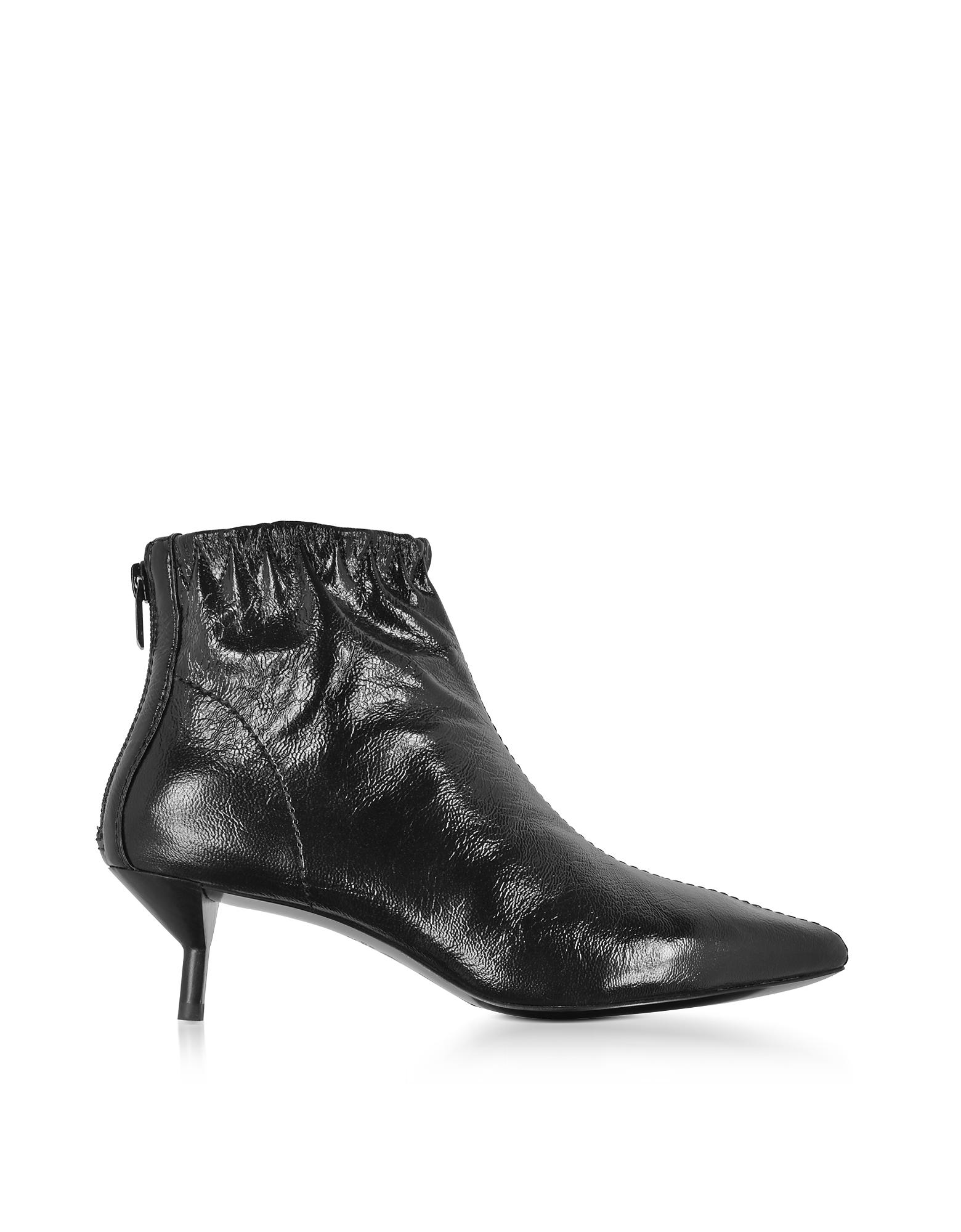Blitz Black Leather Kitten Heel Booties