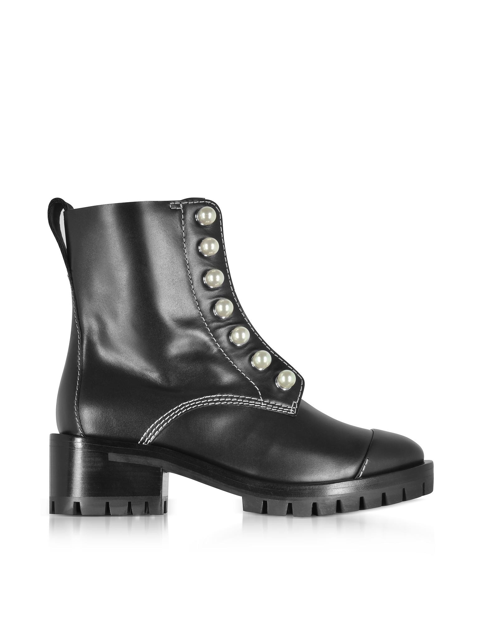 Фото Hayett - Черные Кожаные Ботинки с Жемчужинами. Купить с доставкой