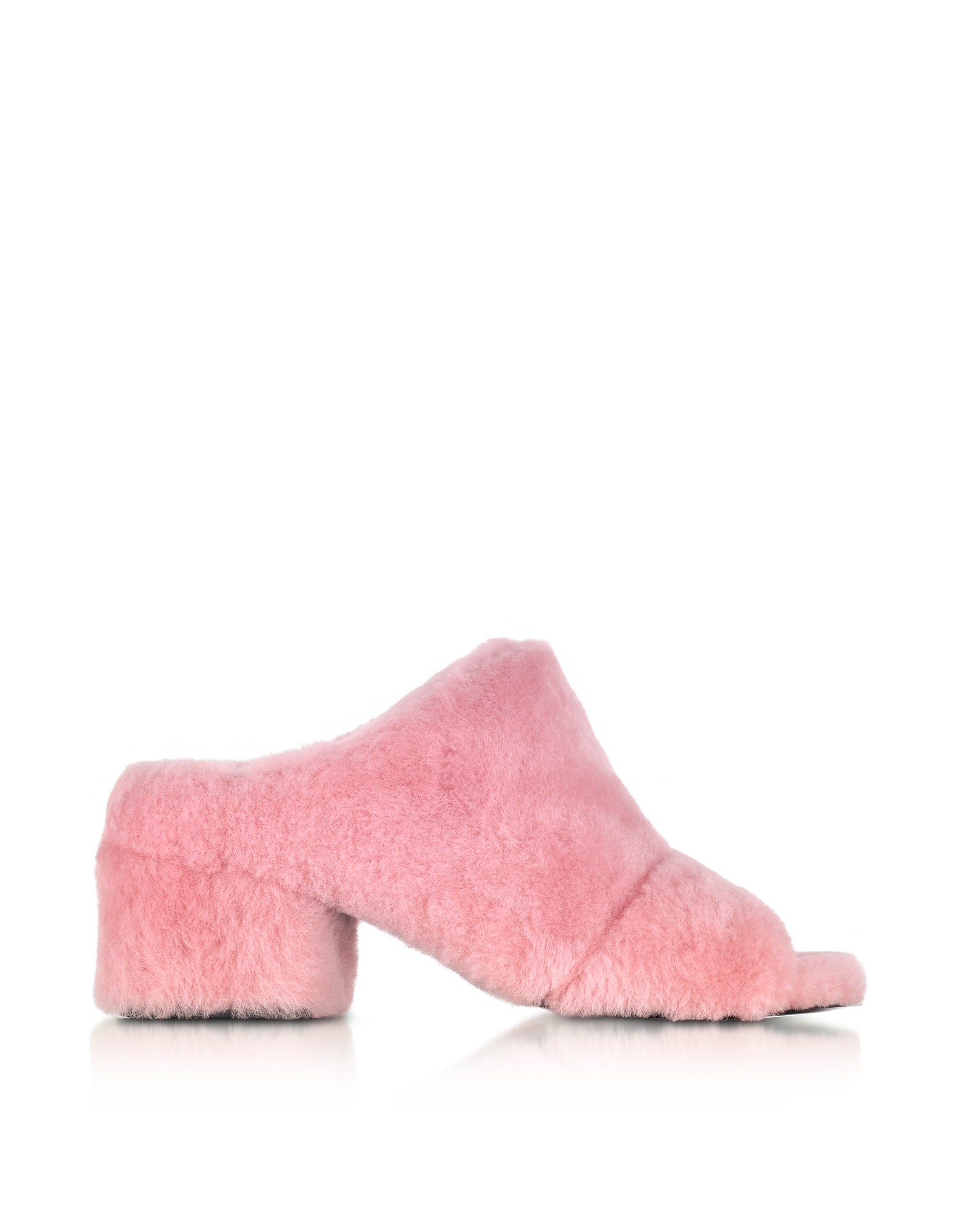3.1 Phillip Lim Shoes, Cube Candy Pink Shearling Open Toe Mid-Heel Mules