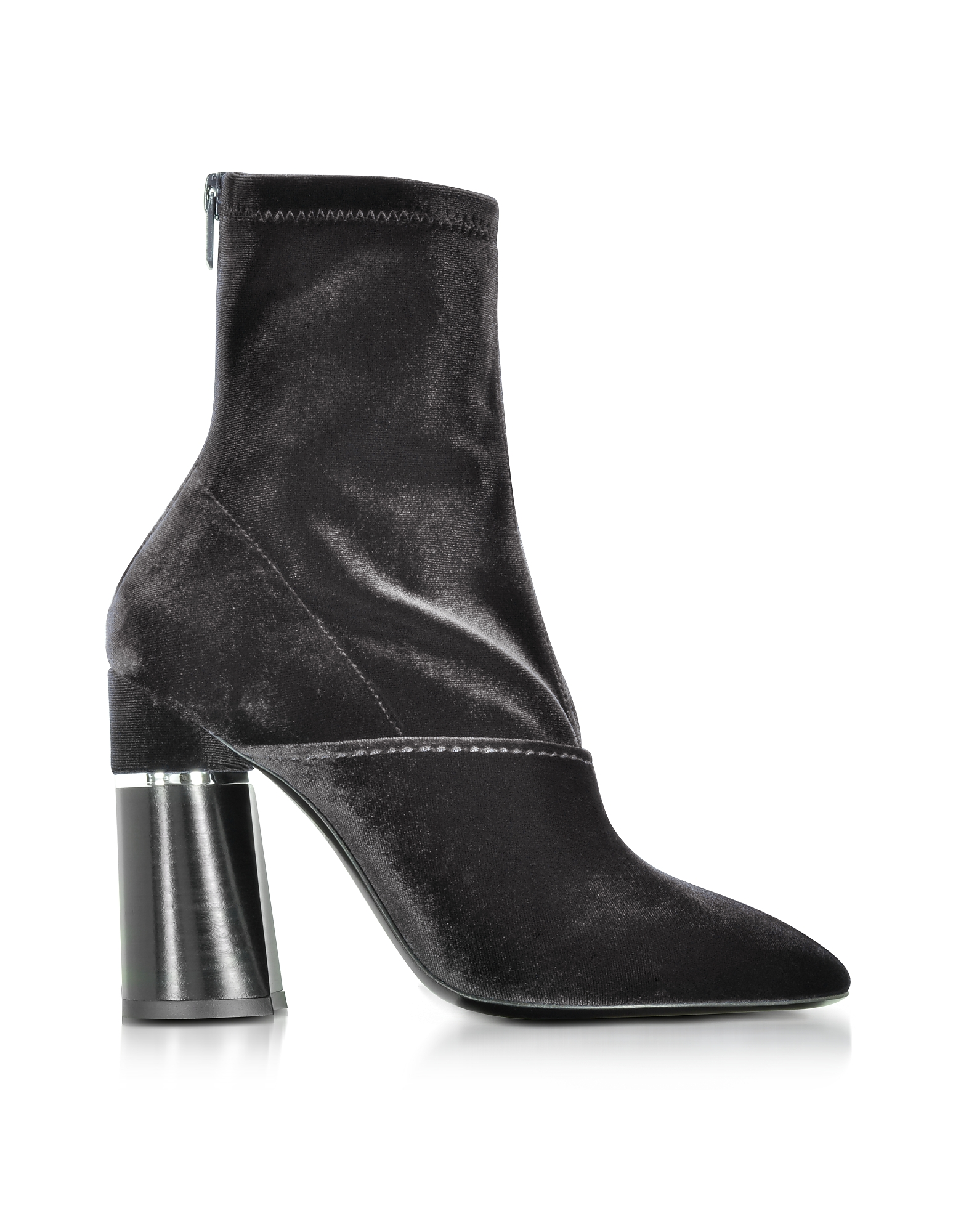 3.1 Phillip Lim Kyoto Black Velvet Stretch High Heel Ankle Boots