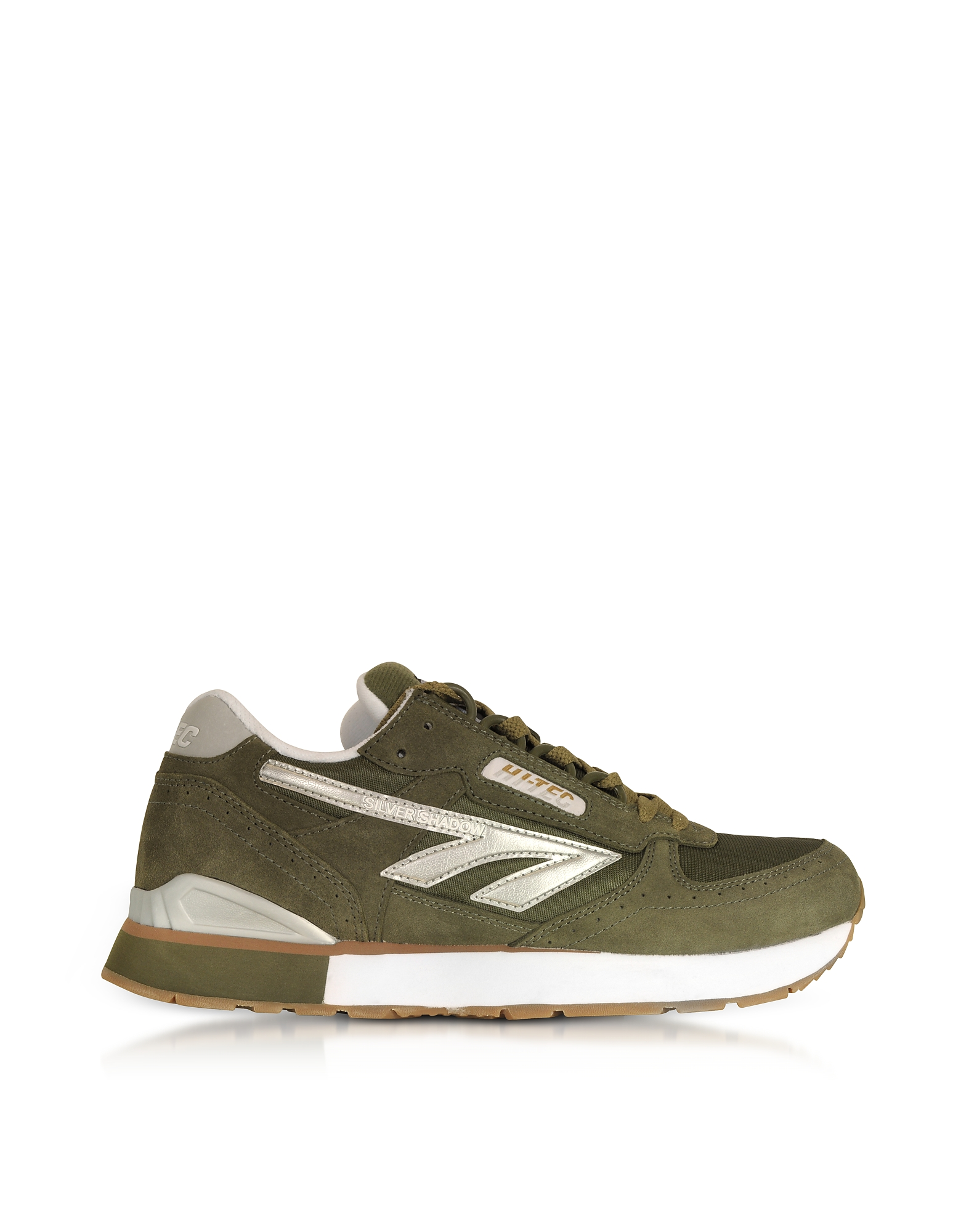 Hi-Tec Shoes, Silver Shadow Olive/Silver/White Mesh and Suede Men's Trainers