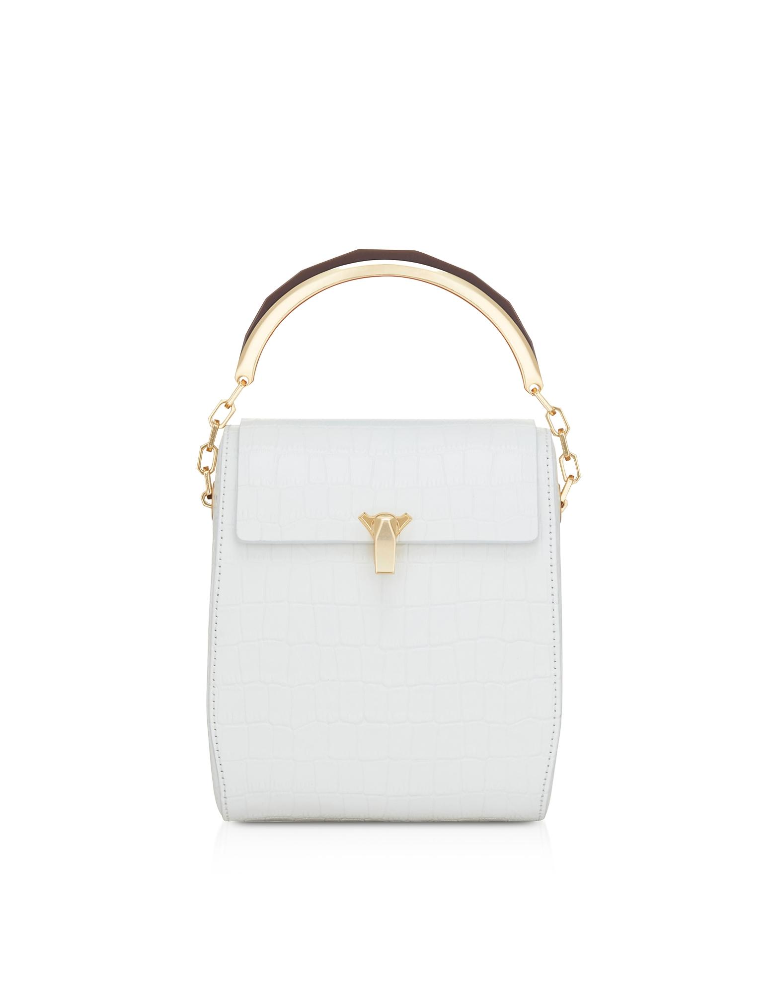The Volon Designer Handbags, White Croco Po Leather Box Bag