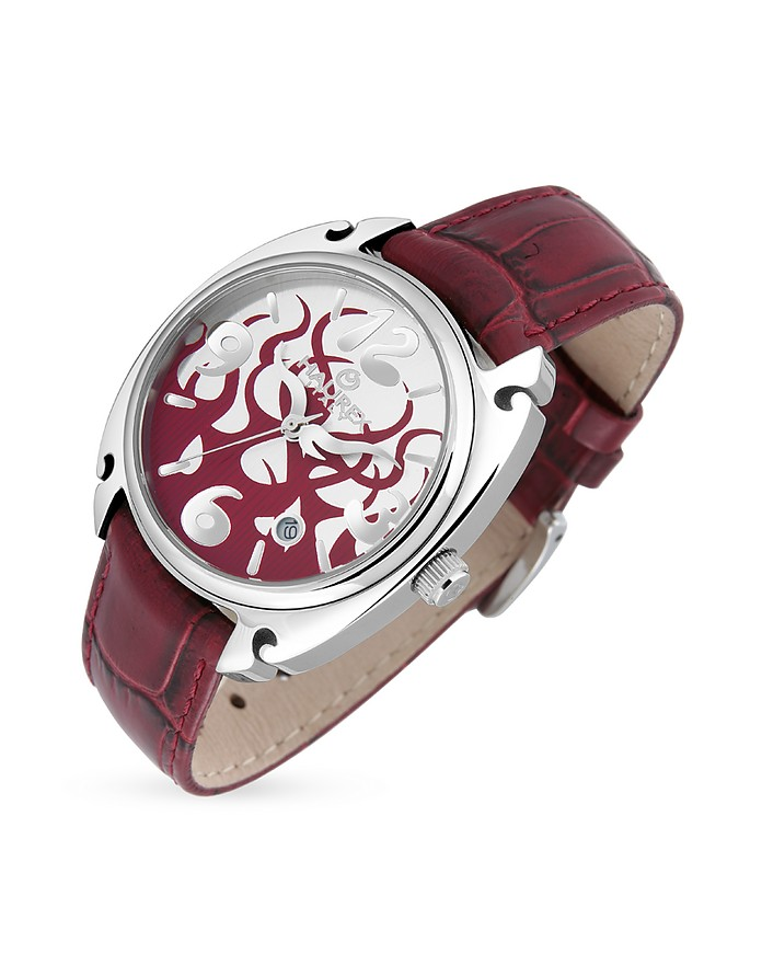 Flame Women's Red Leather Date Watch - Haurex