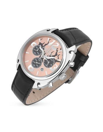 Haurex Flame Women's Black Leather Chronograph Watch