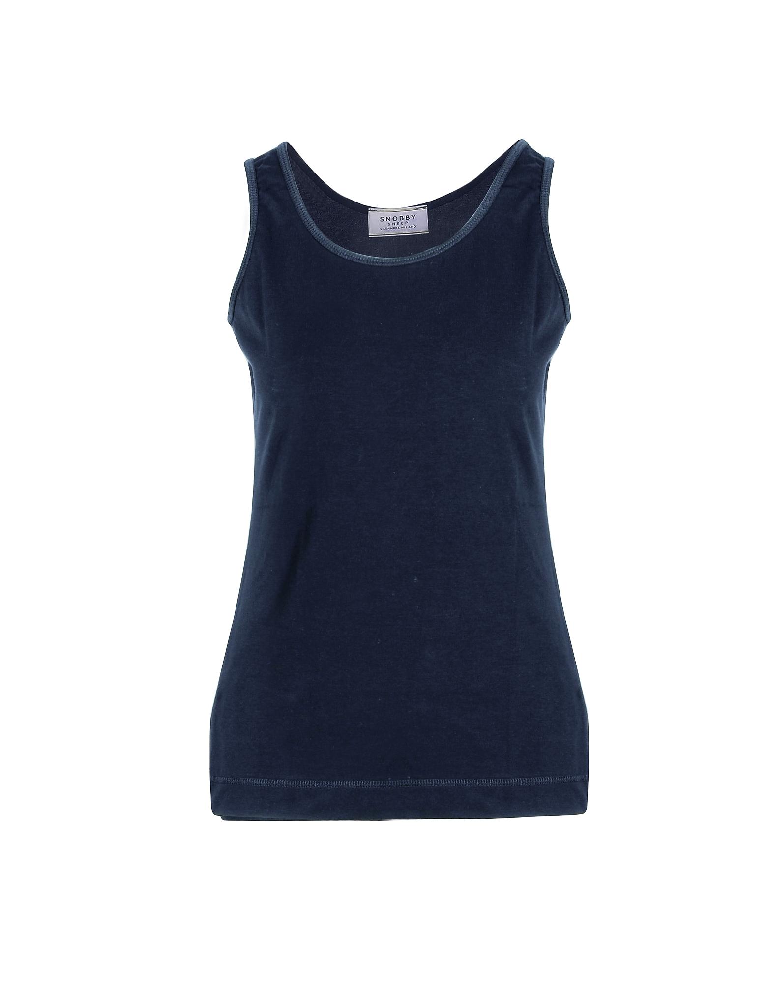 SNOBBY SHEEP Designer T-Shirts & Tops, Blue Cotton Women's Tank Top