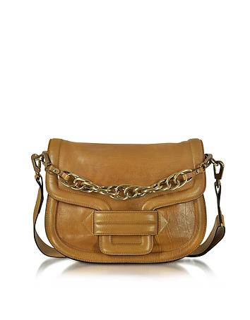 Alphaville Camel Grained Leather Shoulder Bag
