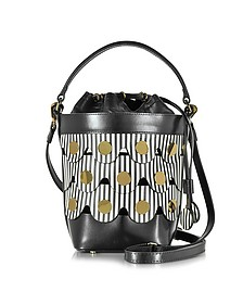 Black & White Stripes Leather Penny Bucket Bag - Pierre Hardy